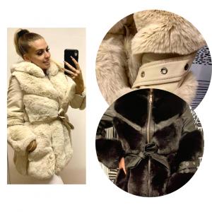 Szőrme kabát bőrrel kombinálva
